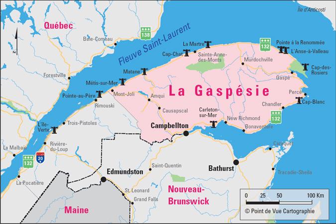 Canada – Un voyage de Québec vers la Gaspésie a travers les paroisses au 19 eme siècle Carte-2