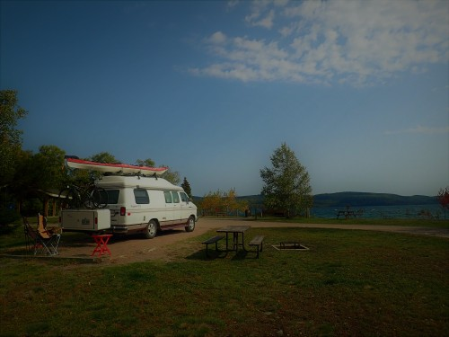 Notre emplacement au camping Rossport.