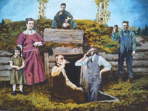 Un très beau tableau célèbre les deux premiers pionniers. Théodore Gelot et Eugène Ménard.